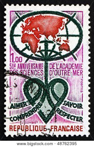 Postage Stamp France 1973 Academy Emblem