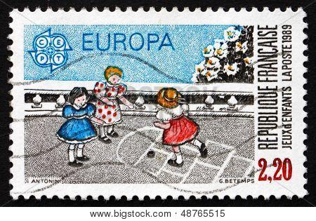 Postage Stamp France 1989 Hopscotch, Children's Game