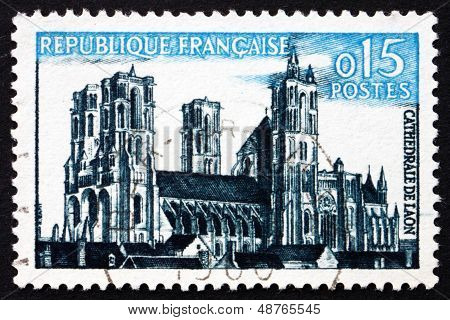 Postage Stamp France 1960 Laon Cathedral, Laon, Picardy