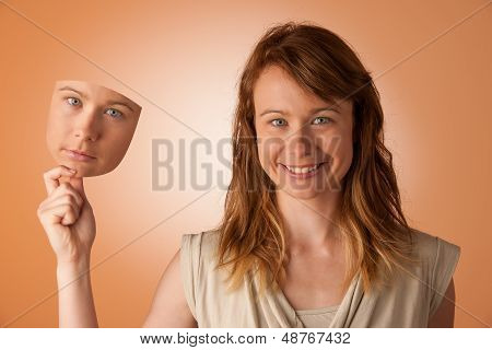 Woman Hiding Under The Happy Mask. Hypocritical, Insincere, Two-faced Female