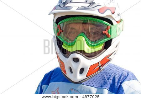 Portrait Of Racer On The White Background.