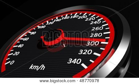 Speedometer with moving arrow