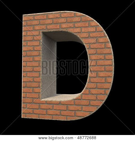 brick alphabet, letter D isolated on black background