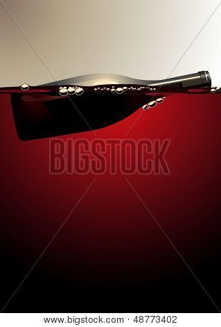 Wine bottle floating on red wine