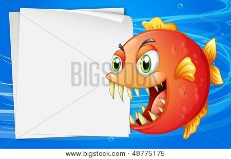 Illustration of a piranha under the sea beside an empty paper