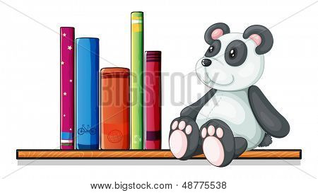 Illustration of a shelf with books and a toy panda on a white background