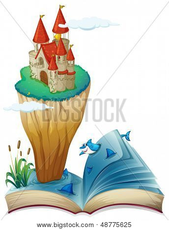 Illustration of a book with an image of an island with a castle on a white background