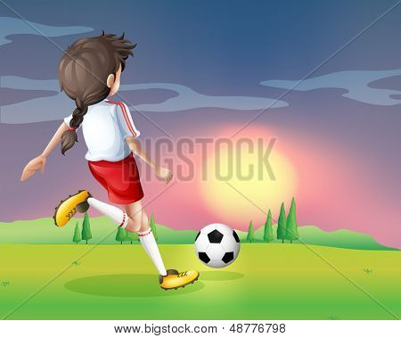 Illustration of a girl playing football in the afternoon