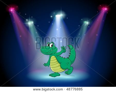Illustration of a crocodile dancing in the middle of the stage