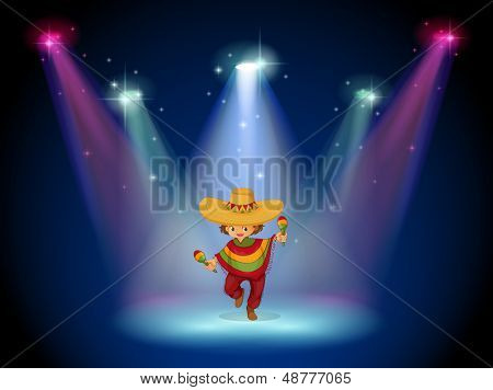 Illustration of a stage with a young girl dancing in the middle