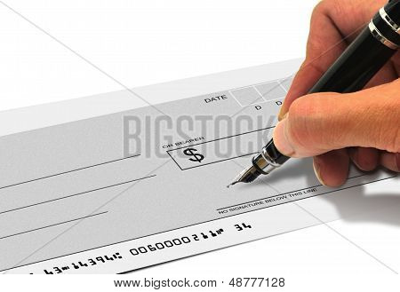 Signing a cheque