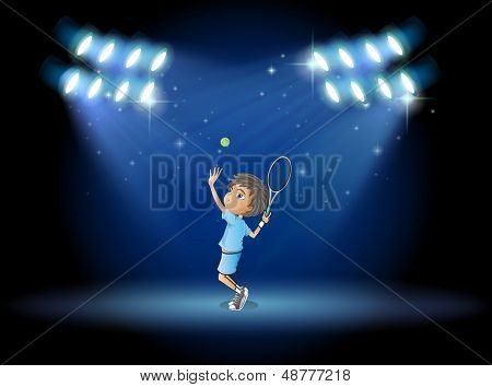 Illustration of a boy playing tennis in the middle of the stage