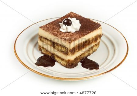 Sweet Italian Layered Tiramisu Cake On Dessert Plate