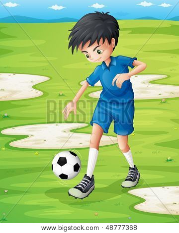 Illustration of a boy sweating while playing football