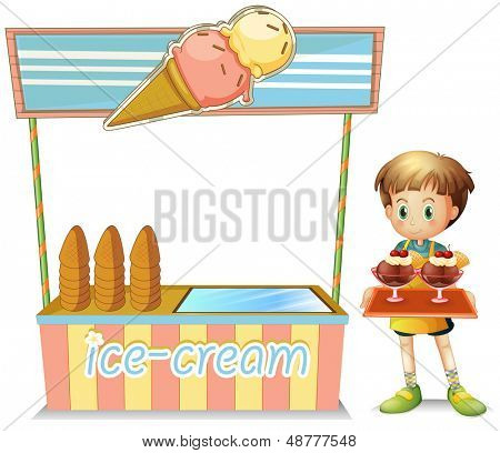 Illustration of a boy with a tray beside an ice cream cart on a white background