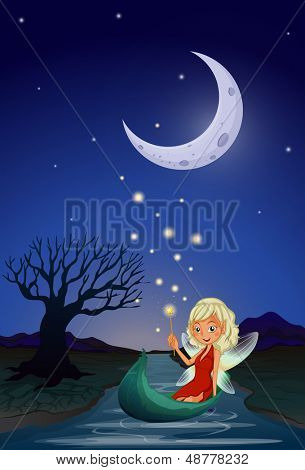 Illustration of a fairy in the middle of the night