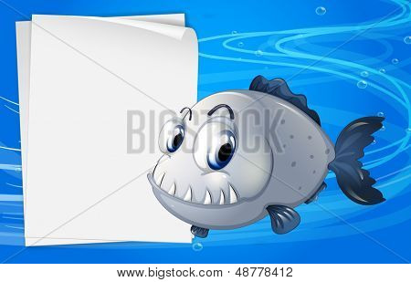 Illustration of a piranha beside an empty signage under the sea