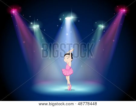 Illustration of a young ballerina at the center of the stage