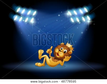Illustration of a king lion at the center of the stage