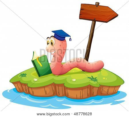 Illustration of a worm reading a book on an island on a white background