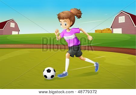 Illustration of a girl playing football at the farm