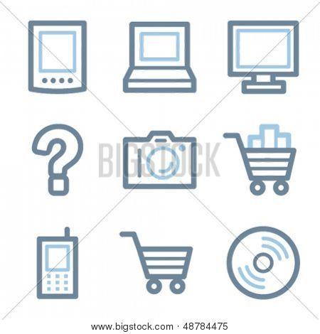 Electronics icons, blue line contour series