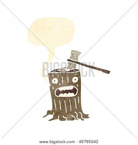 retro cartoon tree stump and axe