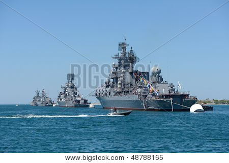 SEVASTOPOL, UKRAINE - MAY 8: Russian and Ukrainian warships anchored in the bay of Sevastopol, Ukraine on May 8, 2013. Ships prepare to the naval parade in honor of 230th anniversary of Black Sea Navy