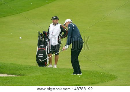 MOSCOW, RUSSIA - JULY 27: Soren Hansen of Denmark with his caddie during 3rd round of the M2M Russian Open at Tseleevo Golf & Polo Club in Moscow, Russia on July 27, 2013
