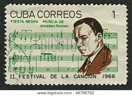 CUBA - CIRCA 1966: A stamp printed in Cuba shows image of the Amadeo Roldan y Gardes (Paris, 12 June 1900 - Havana, 7 March 1939) was a Cuban composer and violinist, circa 1966.