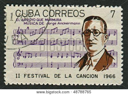 CUBA - CIRCA 1966: Un sello impreso en Cuba muestra imagen del Jorge Anckermann (la Habana, 22 de marzo de 187