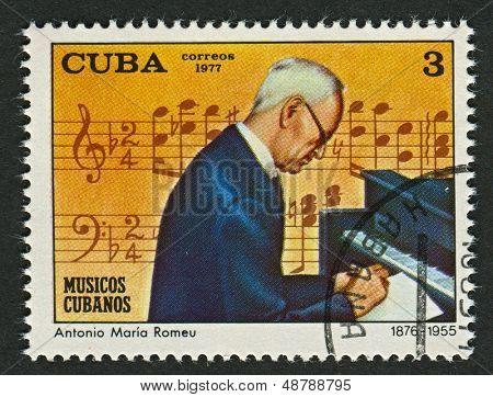 CUBA - CIRCA 1977: A stamp printed in Cuba shows image of the Antonio Maria Romeu Marrero (11 September 1876 - 18 January 1955) was a Cuban pianist, composer and bandleader, circa 1977.