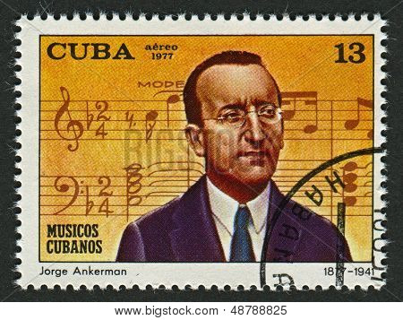 CUBA - CIRCA 1977: A stamp printed in Cuba shows image of the Jorge Anckermann (Havana, 22 March 1877 - 3 February 1941) was a Cuban pianist, composer and bandleader, circa 1977.