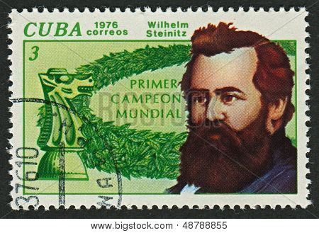 CUBA - CIRCA 1976: A stamp printed in Cuba shows image of the Wilhelm (William) Steinitz  was an Austrian and American chess player and the first undisputed world chess champion, circa 1976.