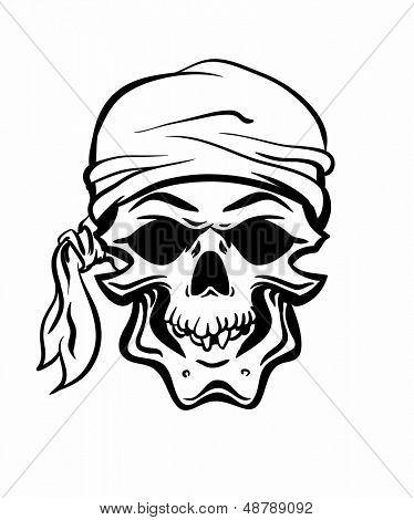 Pirate Skull. Hand drawn. Vector eps8