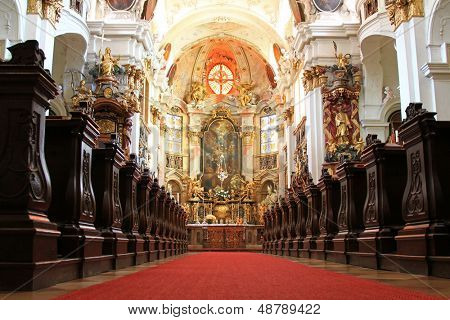 WACHAU, AUSTRIA - AUGUST 2012 : A beautiful Church inside Durnstein Abbey (Stift Durnstein) on August 12, 2012 in Austria.