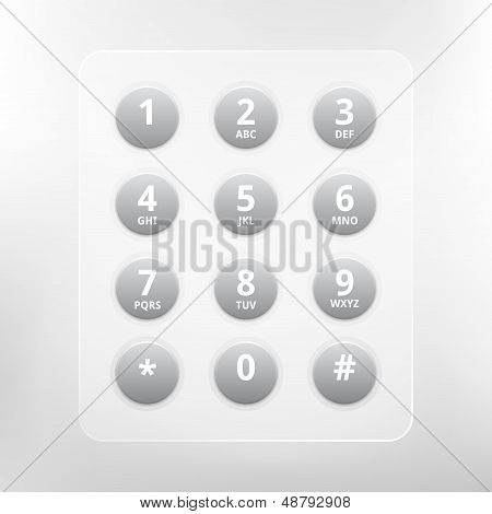 Vector phone numbers with alphabet keyboard