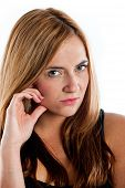 foto of disapproval  - Young woman giving a disapproving look toward the camera - JPG