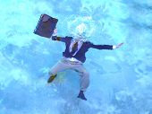 picture of drowning  - Business man with briefcase drowns in blue water - JPG