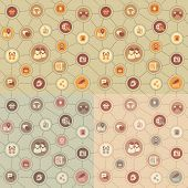 stock photo of plexus  - Seamless pattern of the icons of social media relations in the Internet - JPG