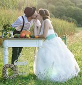 foto of wedding  - Happy couple on wedding day - JPG