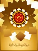 stock photo of pooja  - beautiful golden rakhi for hindu rakshabandhan festival - JPG