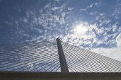 stock photo of skyway bridge  - A view looking up of the Veterans