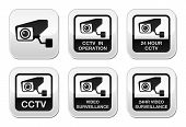 pic of observed  - CCTV camera warning sign and stickers isolated on white - JPG