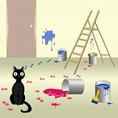 image of misbehaving  - Illustration of black naughty cat who smeared paint floor and walls of the room with ladder - JPG