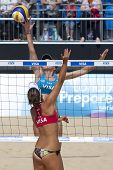 10/08/2011 LONDON, ENGLAND, Elizabeth Maloney (CAN) and Alejandra Simon (ESP) during the FIVB Intern