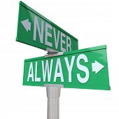 image of mandate  - Never and Always on two green street or road signs to illustrate things you must or must not do - JPG