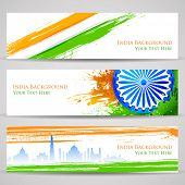 picture of india gate  - illustration of set of banner and header for colorful India - JPG
