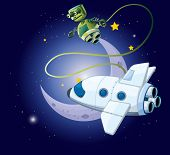 stock photo of outerspace  - illustration of an airship and a robot in the outerspace - JPG