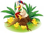 Illustration of a duck reading on a stump with her ducklings on a white background